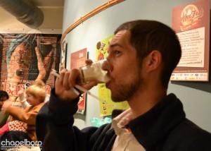 "The author enjoys a coffee stout ""Triple Threat Float""."
