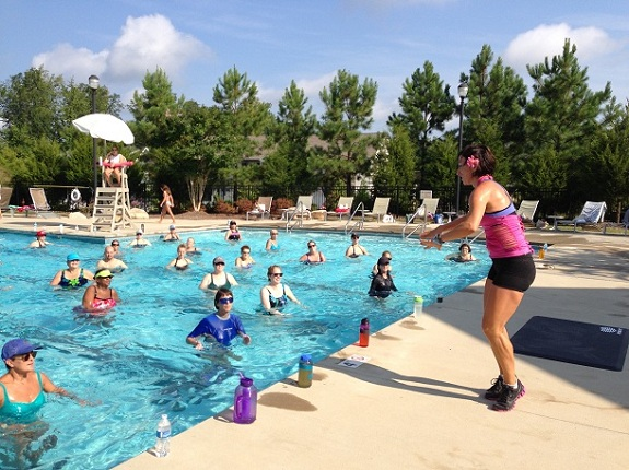 Tanja Cole leading an Aqua Zumba® marathon that raised money for Habitat for Humanity this past summer