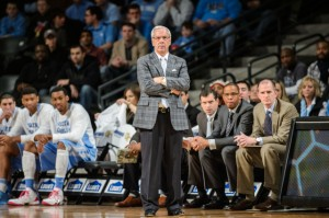 A stern Coach Williams looks on (Photo courtesy of UNC Athletic Communications)