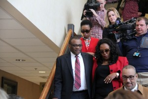 Julius Nyang'oro after his first appearance in the Orange County Courthouse