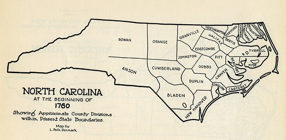 """From """"The Formation of the North Carolina Counties 1663-1943,"""" State Department of Archives and History"""