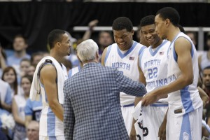 Roy coaching up the Tar Heels (Todd Melet)