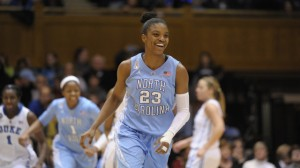 DeShields smiling in the game of her career (UNC Athletic Comm.)