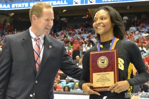 Raziyah Farrington receives the well-deserved Kay Yow Most Valuable Player award.