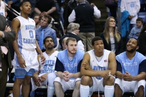 Tar Heel bench looking on (Todd Melet)