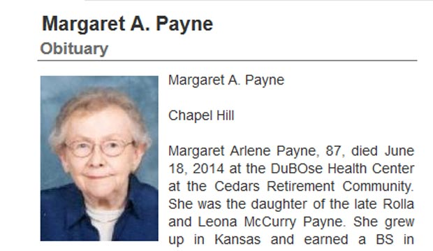 Margaret A. Payne, Great-Aunt to the President, Dies in Chapel Hill at 87