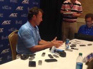 Larry Fedora addresses the media Monday (Matt Oakes)