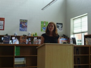 FPG Principal Emily Bivins (in Northside library)
