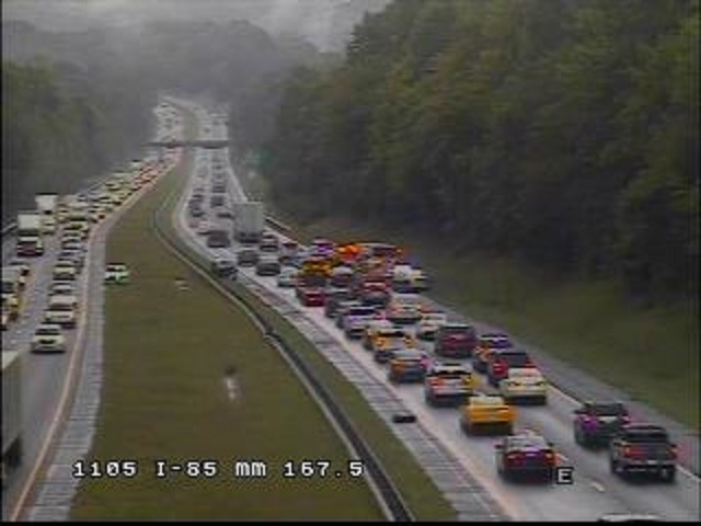 Southbound Lane of I-85 Closed in Orange County Due to Wreck
