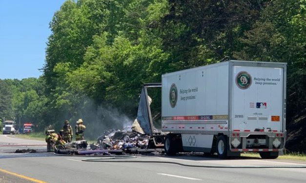 Chemical Fire From a Tractor-Trailer Truck Closes I-85 Near Hillsborough