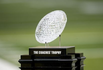 National Championship Coaches' Trophy In Kenan Stadium for Friday's UNC Football Game
