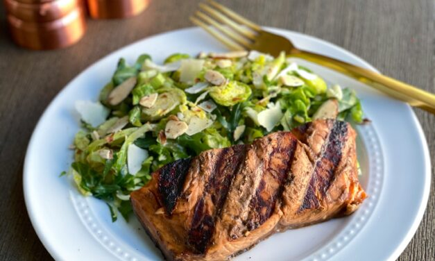 Make It Snappy: Two Tablespoon Grilled Salmon With Shaved Brussels Sprouts and Arugula Salad