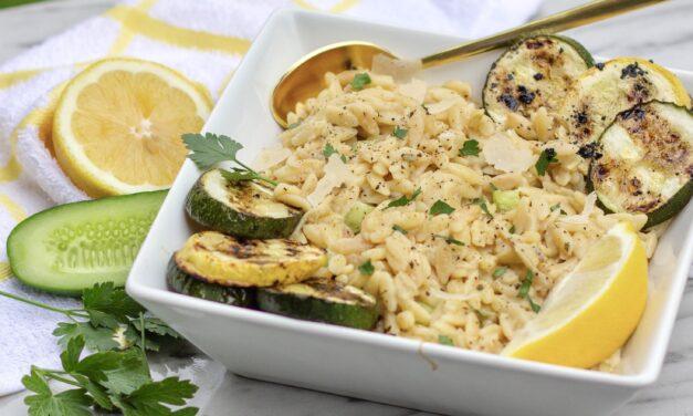 Make It Snappy: Lemon Artichoke Orzo with Grilled Zucchini